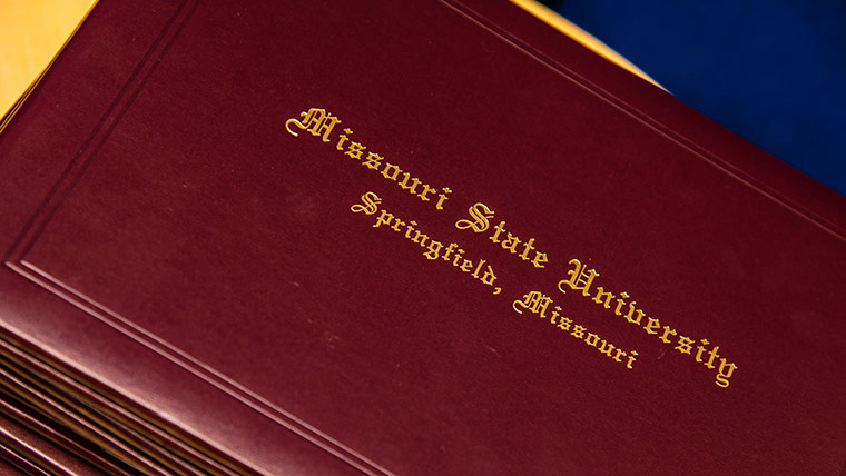 Cover of Missouri State University diploma.